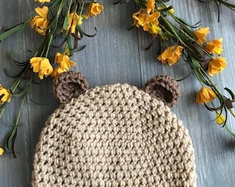 Crochet bear hat/beanie