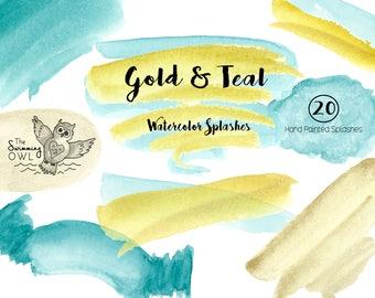 Watercolor Splash - Clipart - Watercolor Washes - Gold & Teal Watercolors - Watercolor Logo - Invitation Clipart - Scrapbooking - Clip Art