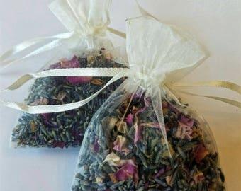 Rose and Lavander linen bags, for car smell, linen closet, organic fragrant