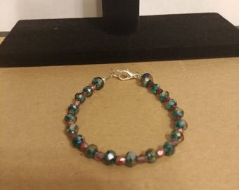 Teal and lilac beaded bracelet