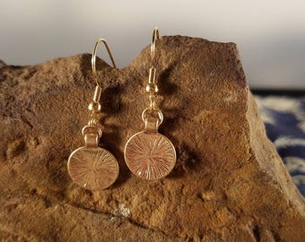 Small Gold Earrings - Gold Disc Earrings - Delicate Gold Earrings - Simple Earrings - Minimalist Earrings - Lightweight Dangle earrings