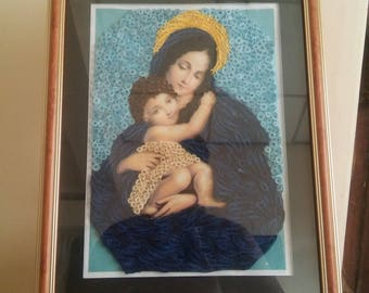 Paper quilling, Mother Mary with baby Jesus, original handcrafted