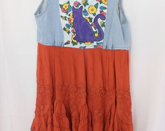 Boys Whatever, Cats Forever. Painted Denim Jacket