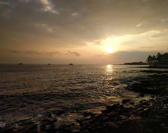 Nature Photography, Sunset, Canvas Print, Wall Art, Home Decor, Landscape Photography, Hawaii, Big Island, Kailua Kona, Beach