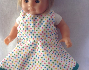 Backless dress with polka dots doll 30 cm