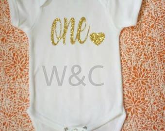 Baby Girl First Birthday Bodysuit  Gold One
