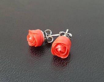 Handmade stud earrings: red rose//gift for women