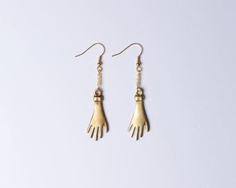 Gold Beaded Hand Earrings
