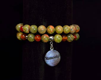 Double bracelet natural stones. Unakite, Carnelian, stainless steel.