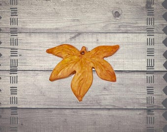 Yellow Maple Leaf Durable Polymer Pendant