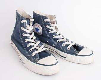 EU 38 - Vintage blue Converse All Star - Made in USA - canvas hi top Chuckies size uk 5.5 / US men 5.5 + womens 7.5 - chuck taylor allstars