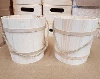 Set Two Wooden Buckets in Diameter 15 cm with Cord as a Handle