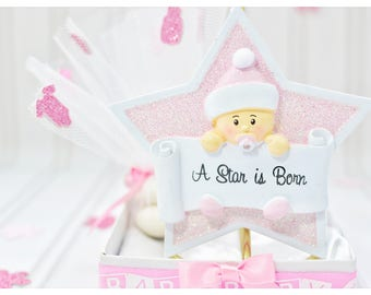 Twinkle twinkle, little star, baby girl star favors, pink, bomboniere, resin, ornaments, stand, baby shower, welcome, baby, satin, tulle