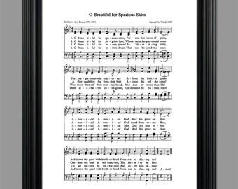 O Beautiful For Spacious Skies Hymn Lyrics - Hymnal Art - Sheet Music- Home Decor - Inspirational Art - Gift - Instant Download - #HYMN-042
