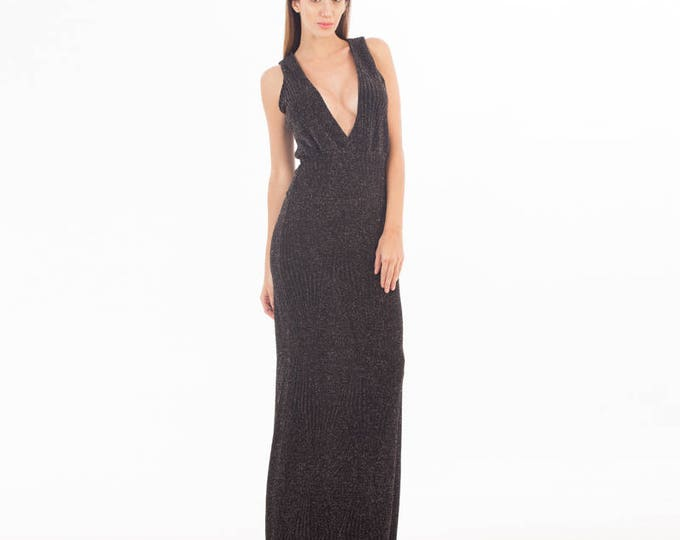 Black Long Dress Black V neck Dress Black Dress Evening Dress Elegant Black Maxi Dress Wedding Black