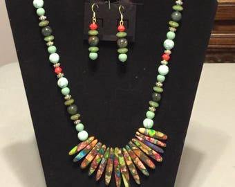 Multi colored stone jewelry set