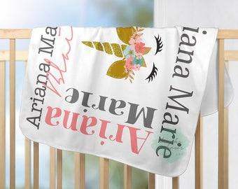 Unicorn Baby Girl Blanket Unicorn Blanket Baby Month Blanket Personalized Baby Blanket Name Collage Blanket Baby Shower Gift Girl