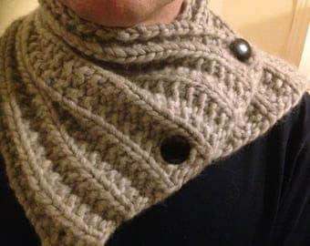 Hand Knitted Virgin Lamb's Wool Cowl With Vintage Buttons