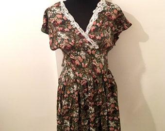 70's vintage dress in OLIVE, GREEN & PINK floral pattern