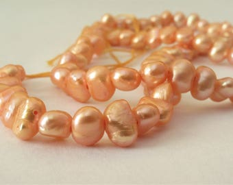 6-7 mm Full Strand Peach Potato Nugget Pearl Beads, Hole SIze 1.0 mm, Genuine Freshwater Pearl Beads, Cultured Peach Nugget Beads (PNPH-022)