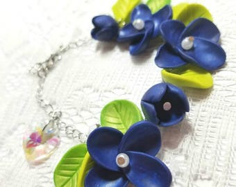 Dark blue floral bracelet with heart Crystal charm
