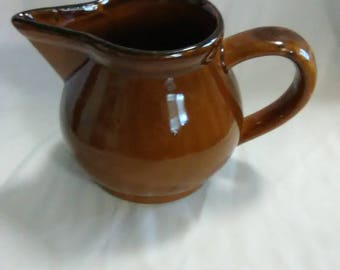 Vintage brown pottery creamer by Glory Good Corp. Taiwan.