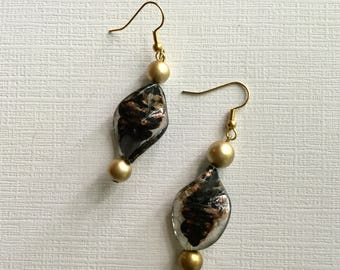 Black and Gold Beads. -  Artisan Crafted Drop Earrings