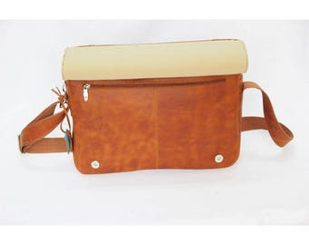Mj Vintage - Leather Bag vegetable Brown  Color
