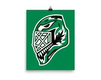 """Green """"92"""" Goalie Mask Poster"""