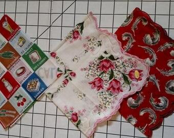 Vintage Handkerchiefs Hankies floral calories feathers 1950s or 1960s
