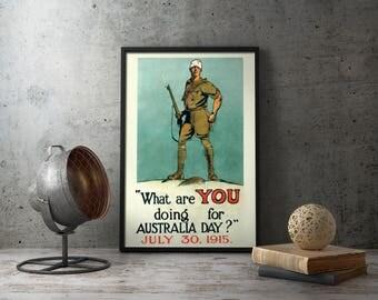 Printable Poster - Anzac Day, WW1 Poster, Australia Day, war memorabilia, gallipoli,