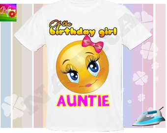 Auntie, Emoji Iron On Transfer, Iron On Emoji Birthday Shirt, Emoji Birtday Sister Iron On, Emoji Instant Download