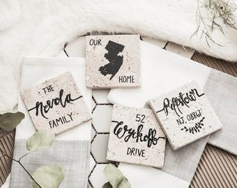 Custom Hand-Lettered Stone Coasters