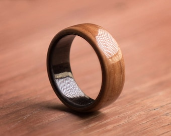 Wrapped Hickory Billet Ebony Wood Ring