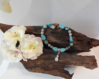 Natural Turquoise Howlite, Labradorite & Grass Flower Jasper healing gemstone stretch bracelet with Double Swirl Charm
