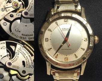 Rare Gruen precision veri-thin bumper autowind 460ss 17 jeweled mens wrist watch runs!!!