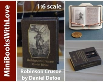 MINIATURE book, ROBINSON CRUSOE by Daniel Defoe, readable 1:6 scale books