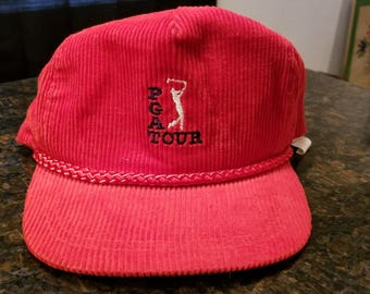 Vintage Red Corduroy PGA Tour Hat