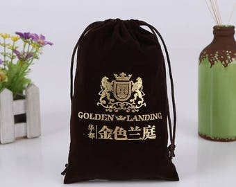 50 black Flannel bags personalized with your logo print any color custom drawstring bags jewelry bag packaging chic drawstring pouches