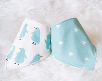 Penguin baby bandana bib set,baby girl, baby boy, cotton fabric, baby gift, penguin, bib set