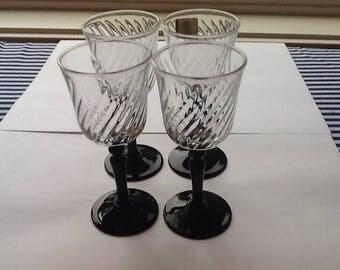 Luminarc J. G.  Durand France Swirl Cordial Glasses with Black Stem