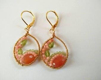 Coral, Carnelian, Peridot wire wrapped earrings