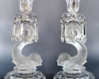 A Pair Of French Baccarat Style Figural Candlesticks
