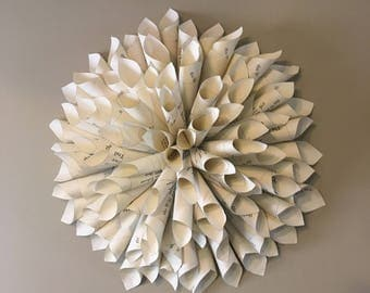 Dahlia book wreath decor