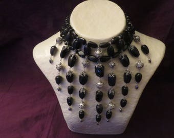 Solid 925 sterling silver and black onyx bib necklace