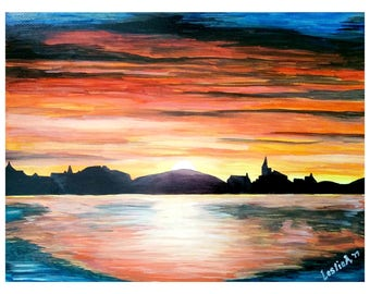 SUNSET - 9in x 12in (22.86cm x 30.48cm) - Acrylic on Paper - Nature Art Original Painting by LeslieA.