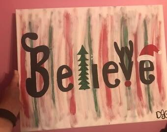 Believe Christmas Painting