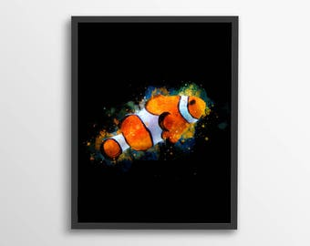 Fish Wall Art, Fish Printable, Watercolor Fish, Clown Fish Print, Marine Wall Art, Aquatic Wall Art, Bedroom Decor, Nature Wall Art