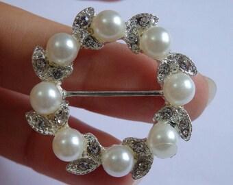 large slider flower pearl button crystal rhinestone diamante connector UK BT99