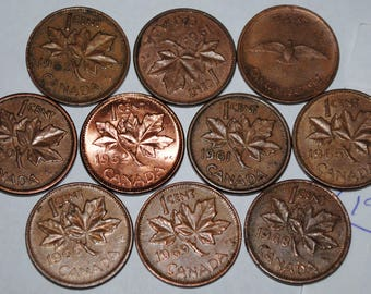Canada 1960 1961 1962 1963 1964 1965 1966 1967 1968 1969 1 Cent Lot #193